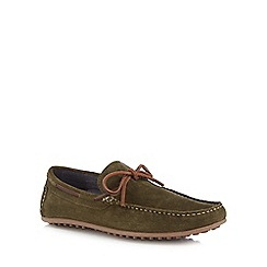 Red Herring - Khaki suede 'Dreux' boat shoes