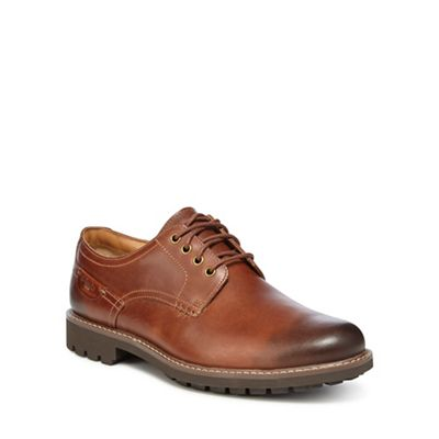 Clarks - Dark tan leather 'Montacute Hall' lace up shoes