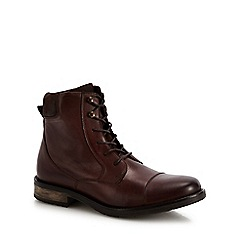 J by Jasper Conran - Chocolate brown leather 'Capri' lace up boots