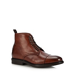 J by Jasper Conran - Chocolate brown leather 'Matera' lace up boots