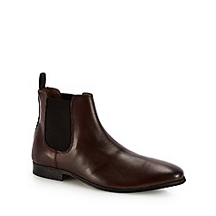 Red Herring - Chocolate brown leather 'Mars' Chelsea boots