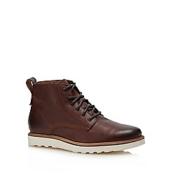 Red Herring - Dark tan leather 'Meteor' lace up boots