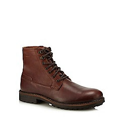 Red Herring - Dark tan leather 'Riga' lace up boots