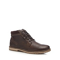 Mantaray - Brown leather 'Camo 3' lace up boots