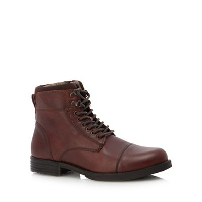 Red Herring Brown leather 'Jovian' lace up boots | Debenhams