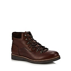Red Herring - Dark tan leather 'Comet' hiking boots