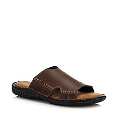 Mantaray - Brown Leather 'Jamaica' Mule Sandals