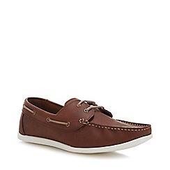 Red Herring - Dark Tan Leather 'Albi' Boat Shoes