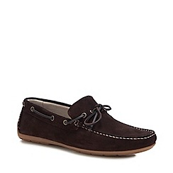 J by Jasper Conran - Chocolate Brown Suede 'Knight' Driver Loafers