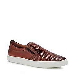 J by Jasper Conran - Dark Tan Leather 'Sicily' Slip-On Trainers
