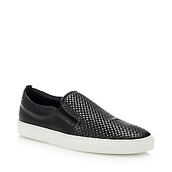 J by Jasper Conran - Black Leather 'Sicily' Slip-On Trainers
