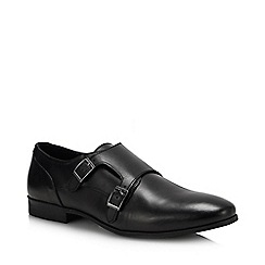 Red Herring - Black Leather 'Brooks' Monk Shoes