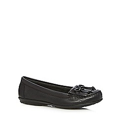 Hush Puppies - Black leather fringe slip on shoes