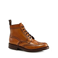 Loake - Tan leather wide fit brogue boots