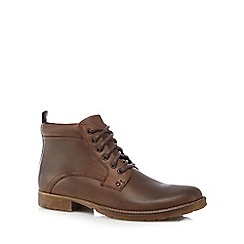 Mantaray - Brown leather lace up boots