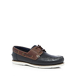 Maine New England - Navy leather 'Stein' boat shoes