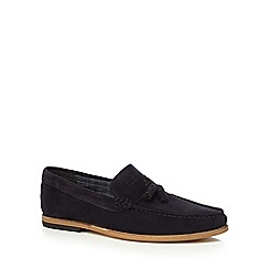 Red Herring - Navy suede 'Gravity' tasselled loafers