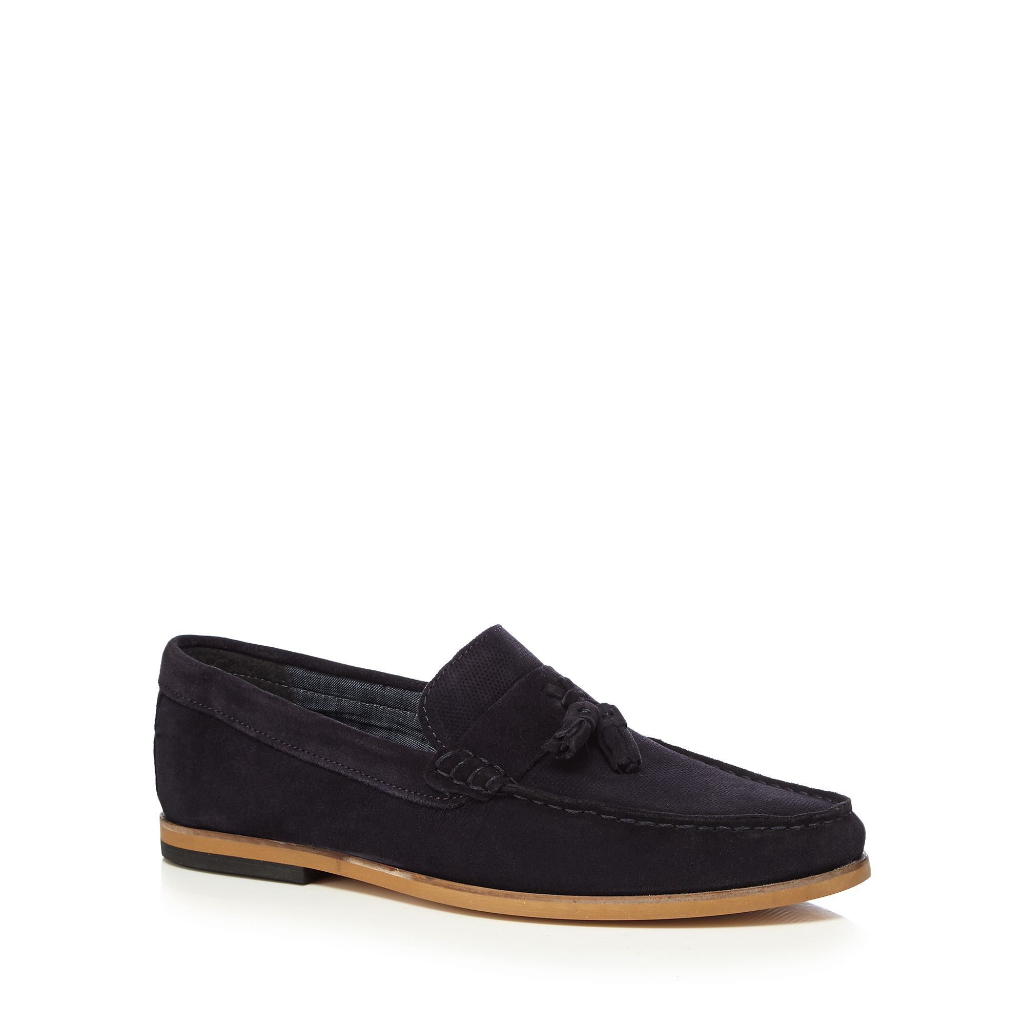 c00d5bba11dc3 Details about Red Herring Men Navy Suede 'Gravity' Tasselled Loafers