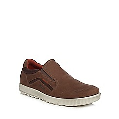 ECCO - Brown leather 'Ennio' slip on shoes
