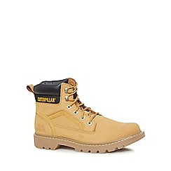 Caterpillar - Beige leather 'Stickshift' lace-up boots