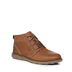 Caterpillar - Dark tan leather 'Trey' chukka boots