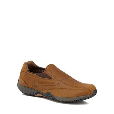 Skechers - Tan leather 'Tramline' slip-on shoes