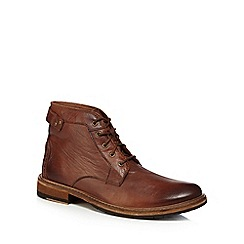 Clarks - Dark tan leather 'Clarkdale Bud' lace up boots
