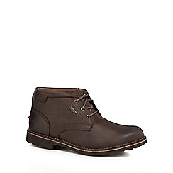 Clarks - Dark brown leather 'Lawes Mid GTX' lace up boots