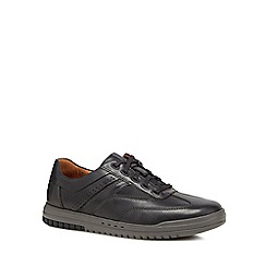Clarks - Black leather 'Unrhombus Fly' trainers