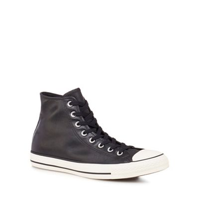 Converse - Black leather 'Chuck Taylor All Star' hi-top trainers
