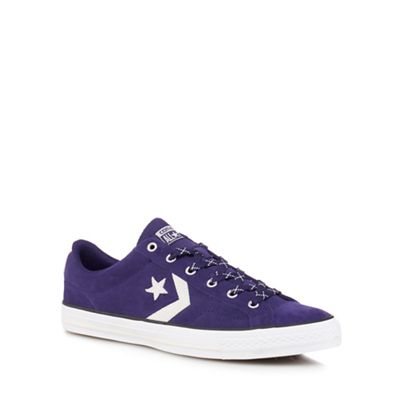 Converse - Blue suede 'Star Player' lace up trainers