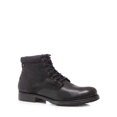 Jack & Jones - Black leather 'Justin' lace up boots