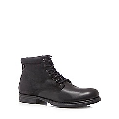 Jack & Jones - Black leather 'Justin' lace up boots