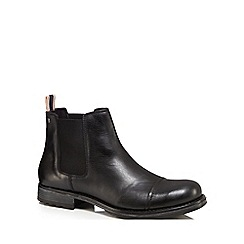 Jack & Jones - Black leather 'Greg' Chelsea boots