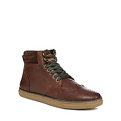 Original Penguin - Brown leather 'Huntsman' brogue boots