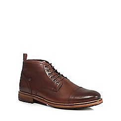 Original Penguin - Brown leather 'Stan' lace up boots