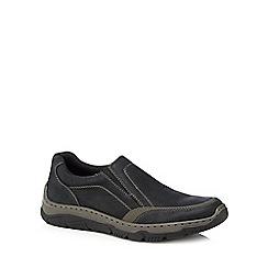 Rieker - Black leather slip-on trainers