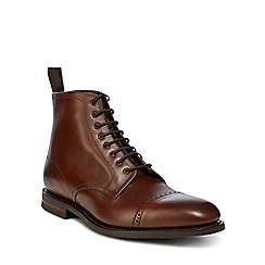 Loake - Brown leather 'Hyde' military boots