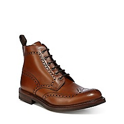Loake - Tan leather 'Bedale' Goodyear welted sole brogue boots