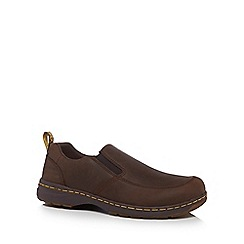 Dr Martens - Brown leather 'Brennan' slip-on shoes