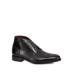Loake - Black leather 'Harrington' brogue boots