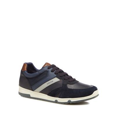 Geox - Navy 'Wilmer' mixed material trainers