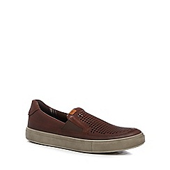 ECCO - Brown leather 'Kyle' slip-on shoes