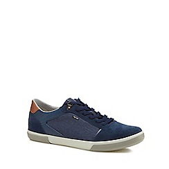 Geox - Navy 'Box' denim panel lace-up trainers
