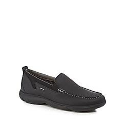 Geox - Black 'Nebula' leather slip-on shoes