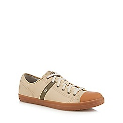 Caterpillar - Cream 'Checklist' canvas lace-up trainers