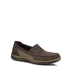 Rockport - Dark brown suede 'Get Your Kicks' slip on shoes