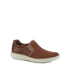Rockport - Dark tan suede 'Zaden' slip-on shoes