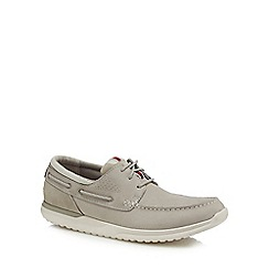 Rockport - Grey leather 'Langdon' boat shoes