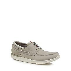 Rockport - Grey leather 'Langdon' boat shoes